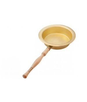 Латунный таз 3 л с деревянной ручкой