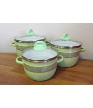 Набор эмалированных кастрюль Полонез 3 пр, салатовые