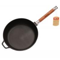 Сковорода чугунная 24 см глубокая съемная ручка, Биол