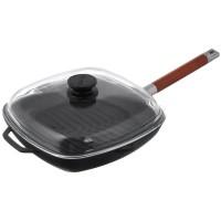 Сковорода гриль чугунная 26 см с крышкой и съемной ручкой Биол