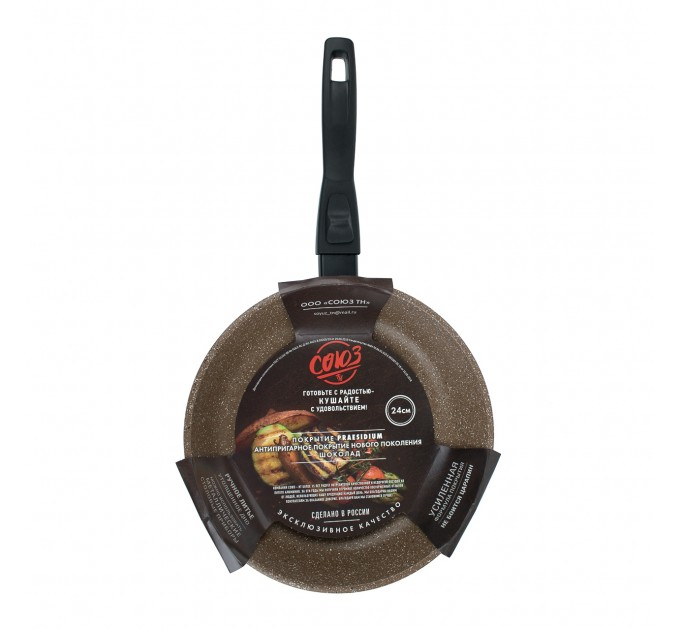 Сковорода литая алюминиевая СОЮЗ ТН, 24 см, CILICOL CERAMIC, шоколадный гранит, ручка съёмная