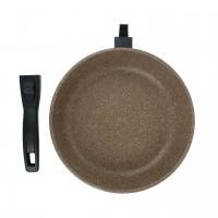 Сковорода литая алюминиевая СОЮЗ ТН, 26 см, CILICOL CERAMIC, шоколадный гранит, ручка съёмная