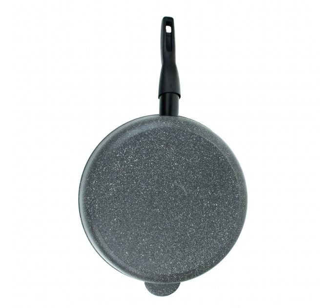 Сковорода литая алюминиевая СОЮЗ ТН, 28 см, CILICOL CERAMIC, серый гранит, ручка съёмная