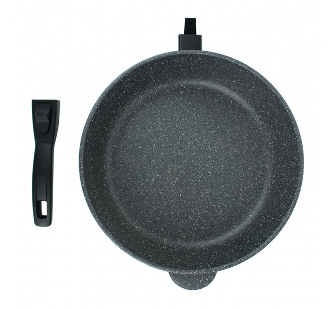 Сковорода литая алюминиевая СОЮЗ ТН, 28 см, CILICOL CERAMIC, серый гранит, ручка съёмная.