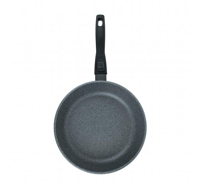 Сковорода литая алюминиевая СОЮЗ ТН, 22 см, CILICOL CERAMIC, серый гранит, ручка съёмная