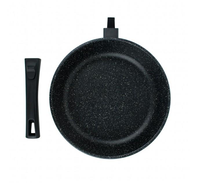 Сковорода литая алюминиевая СОЮЗ ТН, 26 см, NEBLIX, мраморный, ручка съёмная