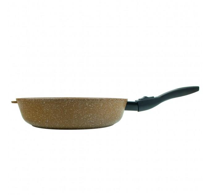 Сковорода литая алюминиевая СОЮЗ ТН, 28 см, PRAESIDIUM, шоколадный гранит, ручка съёмная