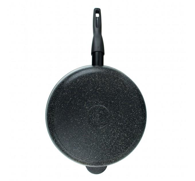 Сковорода литая алюминиевая СОЮЗ ТН, 28 см, NEBLIX, мраморный, ручка съёмная