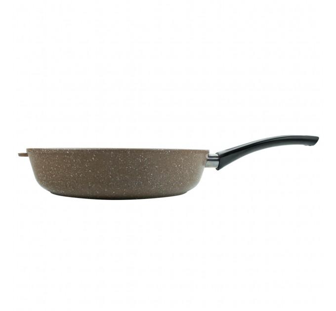 Сковорода литая алюминиевая СОЮЗ ТН, 28 см, PRAESIDIUM, шоколадный гранит, ручка несъёмная