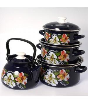 Набор посуды Букет орхидей, 4 пр КМК Керчь, цветной