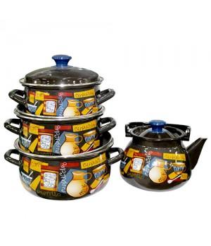 Набор посуды Капучино, 4 пр КМК Керчь, коричневый