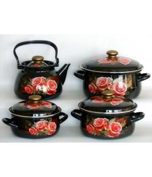 Набор посуды Розалия, 4 пр КМК Керчь, коричневый