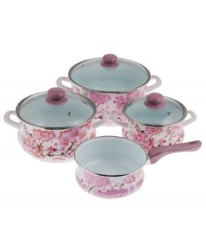 Набор эмалированной посуды Metrot Сакура, ковш 1,5 л