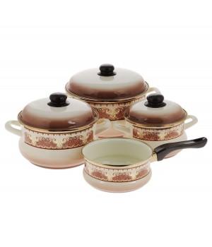 Набор эмалированной посуды Metrot Терракот, ковш 1,5 л в подарок