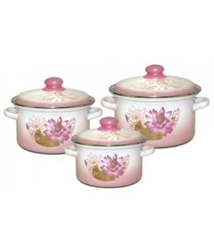 Набор эмалированных кастрюль Полесье 3 пр, розовые