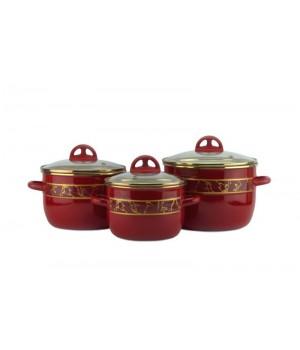 Набор эмалированных кастрюль Полонез 3 пр, вишневые