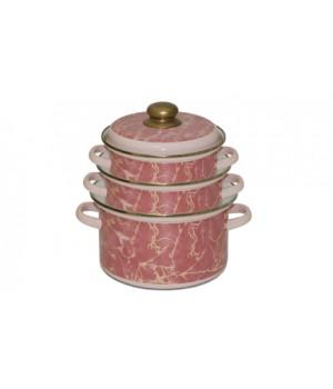 Набор эмалированных кастрюль Премиум 3 пр, розовые
