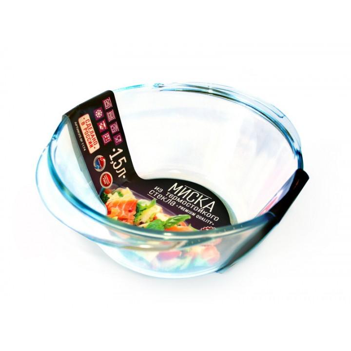 Миска стеклянная 1,5 л термостойкая с 2 ручками