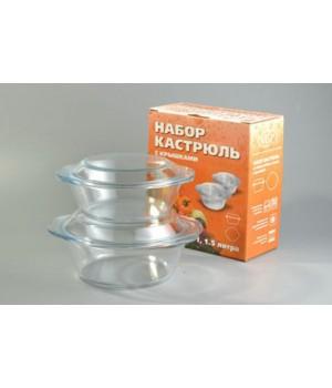 Набор стеклянный из 2-х кастрюль 1,0 л+1,5 л Васильевский завод