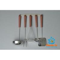 Кухонный набор 5 пр нержавейка коричневая ручка Амет