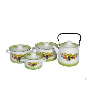 Набор эмалированной посуды Компот 4 пр СтальЭмаль