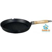 Сковорода гриль 24 см чугунная с деревянной ручкой