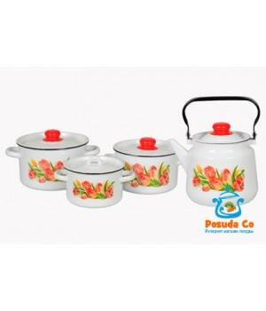 Набор эмалированной посуды Тюльпаны 4 пр СтальЭмаль
