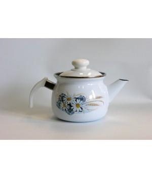 Чайник эмалированный 1 л заварочный с рисунком ромашки