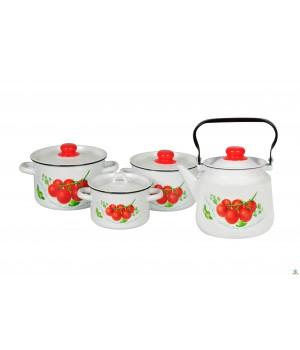Набор эмалированной посуды Томаты 4 пр СтальЭмаль