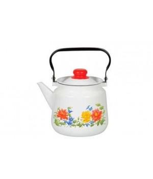 Чайник эмалированный Цветочная 3,5 л Стальэмаль