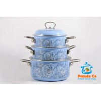 Набор эмалированных кастрюль Peony 3 пр Elros голубые