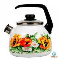 Стальэмаль чайник со свистком FLORISTERIA 2 литра