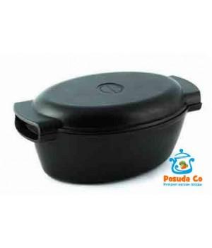 Утятница 3 л с антипригарным покрытием и крышкой сковородой Нева