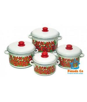 Набор эмалированных кастрюль Подарочный 4 пр с цветами