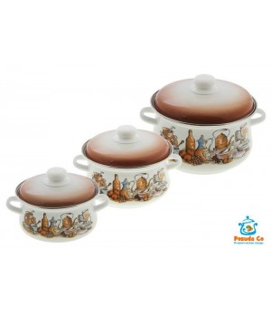 Набор эмалированных кастрюль Посудка 3 пр