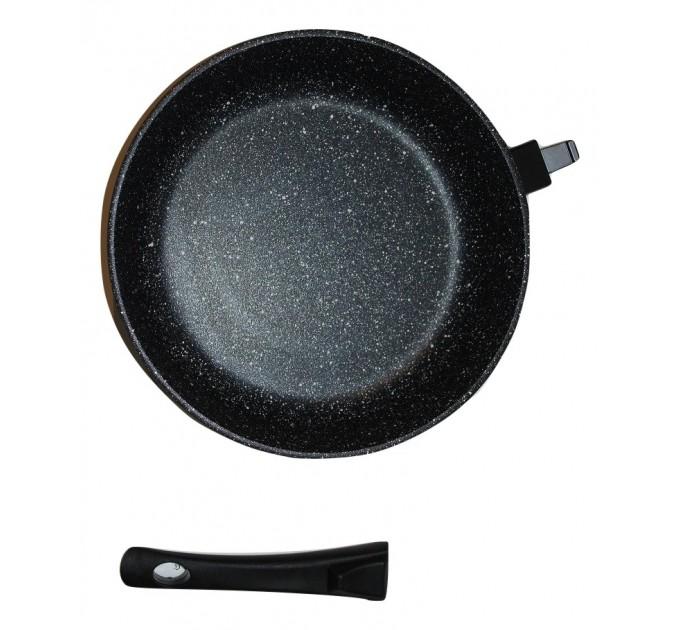 Сковорода 28 см Наша Посуда Мрамор со съёмной ручкой