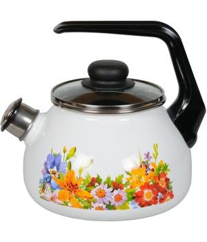 Чайник эмалированный СтальЭмаль Полянка, со свистком, 2 л
