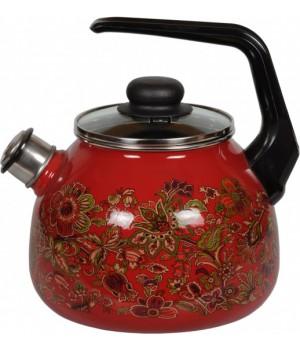 Чайник со свистком 2,0 л Imperio красный Vitross