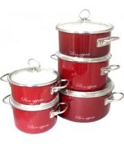 Набор эмалированных кастрюль Bon Appetit 5 пр Vitross вишневый