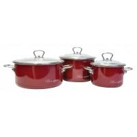 Набор эмалированных кастрюль Bon Appetit №03 Vitross вишневый
