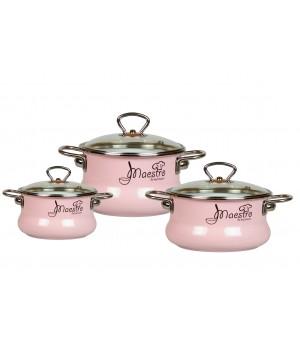 Набор эмалированных кастрюль Maestro №13 Vitross розовый