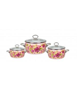 Набор эмалированных кастрюль Violeta №13 3 пр Vitross розовый