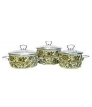 Набор эмалированных кастрюль Imperio №13 Vitross салатовый