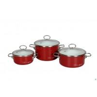 Набор эмалированных кастрюль Bon Appetit №13 Vitross красный