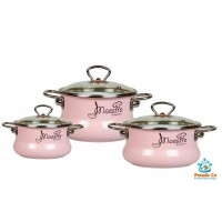 Набор эмалированных кастрюль Maestro № 13 розовый Vitross